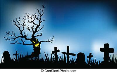 halloween night illustrations, vector format, evil tree in...