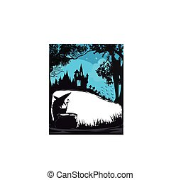 Halloween night frame with scary haunted castle and a witch preparing poison