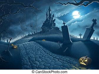 Halloween creepy night in the cemetery illustration