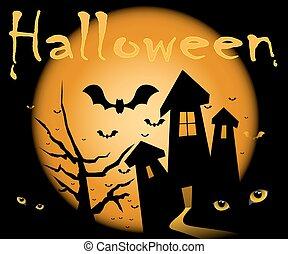 Halloween night. - Halloween illustration scene, moon, home,...