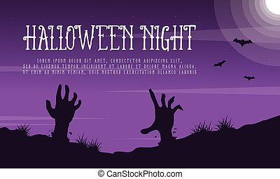 Halloween night landscape with zombie