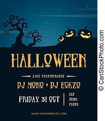 Halloween night party poster design