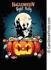 Halloween Night Party Poster Illustration