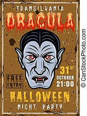 Halloween night party vector vintage poster