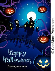 Halloween night poster - Template for poster of Happy...