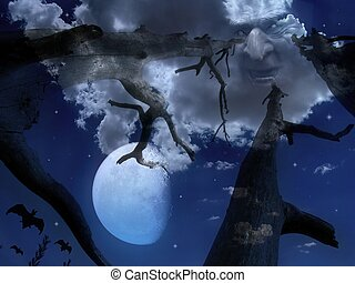 Halloween night - Scary night scene with sky , moon ,...
