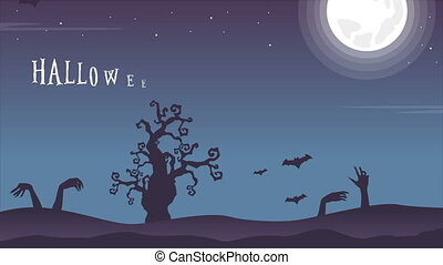 Halloween night scary with moon landscape footage background