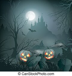 Halloween Night Scene - Halloween vector night scene with...