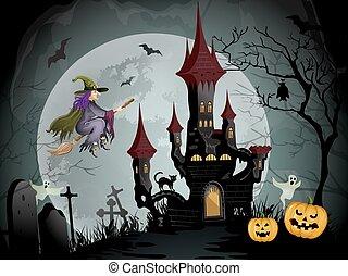 Halloween night scene with spooky castle