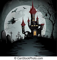 Halloween night scene with spooky ghost castle