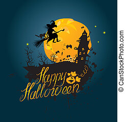 Halloween night: silhouette of witch and cat flying on broom to