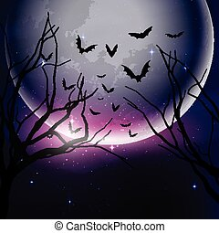 Halloween night sky background with tree silhouettes against...