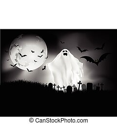 halloween night - Spooky Halloween background with ghost in...