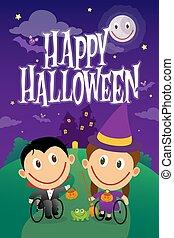 halloween, night., vampiro, carrozzella, bambini, vestito, strega