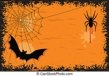 Halloween night with bat and spider