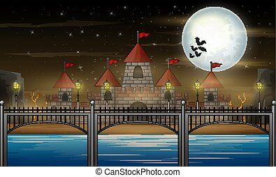Halloween night with castle on full moon background