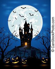 Halloween night with dark castle and pumpkins