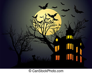 Halloween night with haunted house and bats