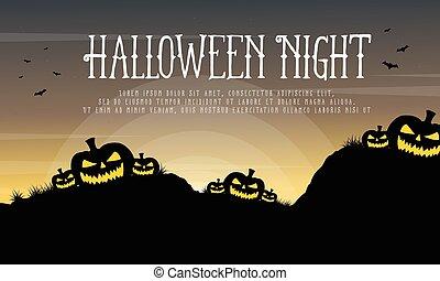 Halloween night with pumpkin background