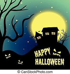 halloween noc, z, uczęszczany dom