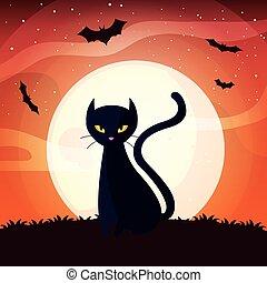 halloween, noir, scène, chat, lune
