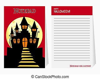 Halloween notepad with castle and text vector illustration
