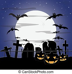 halloween, nublado, cementerio