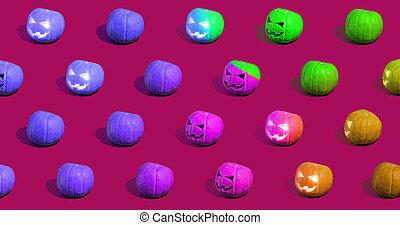 halloween, o, gato, calabazas, o'lantern