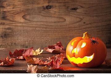 halloween, o, wagenheber, laterne, spinnen , kã¼rbis