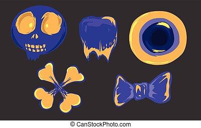 Halloween object cartoon doodle style