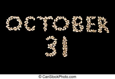 Halloween - October 31 - Halloween words \'October 31\'...