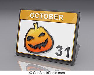 Halloween October 31 - A Calendar with showing October 31...