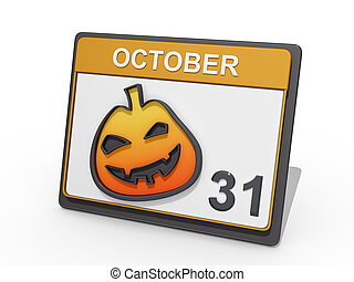 Halloween October 31 White BG - A Calendar with showing...