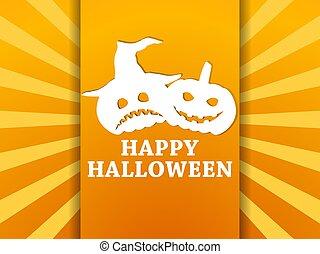 halloween, octubre, feliz, fondo., saludo, asustadizo, 31st., vector, emotions., naranja, rayos, ilustración, calabazas, caras, tarjeta