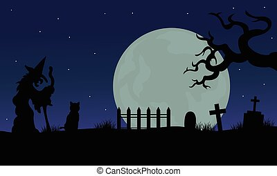 Halloween of witch and cat silhouette