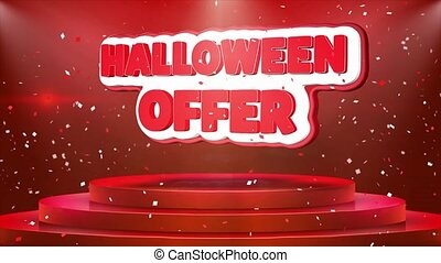 Halloween Offer Text Animation Stage Podium Confetti Loop Animation