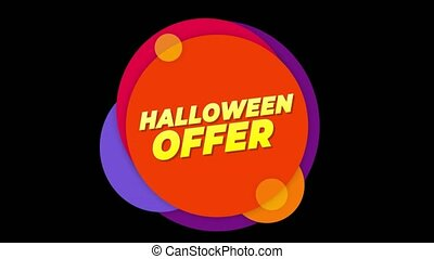 Halloween Offer Text Sticker Colorful Sale Popup Animation.