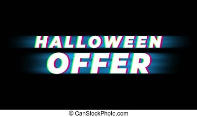Halloween Offer Text Vintage Glitch Effect Promotion .