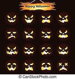halloween, -, o'lantern, cric, expressions, heureux
