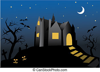 halloween- old haunted house at night