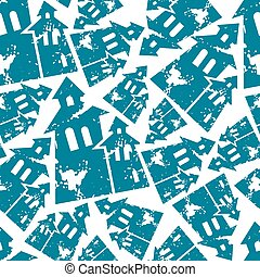 Halloween old house seamless pattern