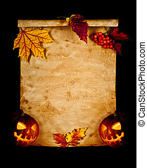 Halloween. Old paper with autumn leaves and pumpkin.