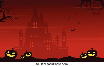 Halloween on red background with castle