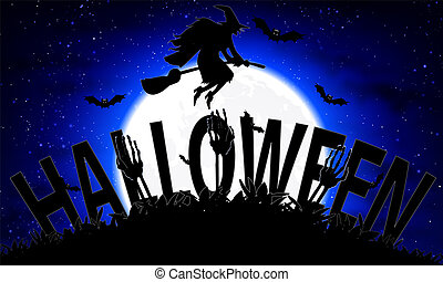 Halloween on the background of the moon and the flying witch