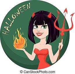 halloween., ona-przysmażają, diabeł, trójząb, jeden, płomień, another., sexy, dziewczyna, ręka