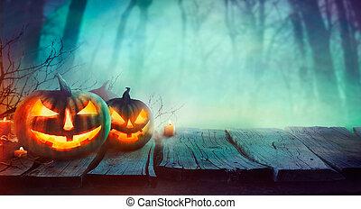 halloween, ontwerp, met, pompoennen