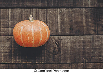 halloween or thanksgiving concept greeting card. beautiful pumpkin on rustic wooden background, top view. space for text. cozy autumn mood. fall holiday. stylish simple flat lay