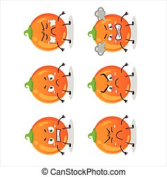 Halloween orange candy cartoon character with various angry expressions