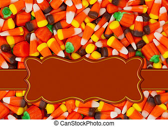 Halloween orange candy corn border with copy space