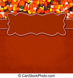 Halloween orange candy corn square border with copy space